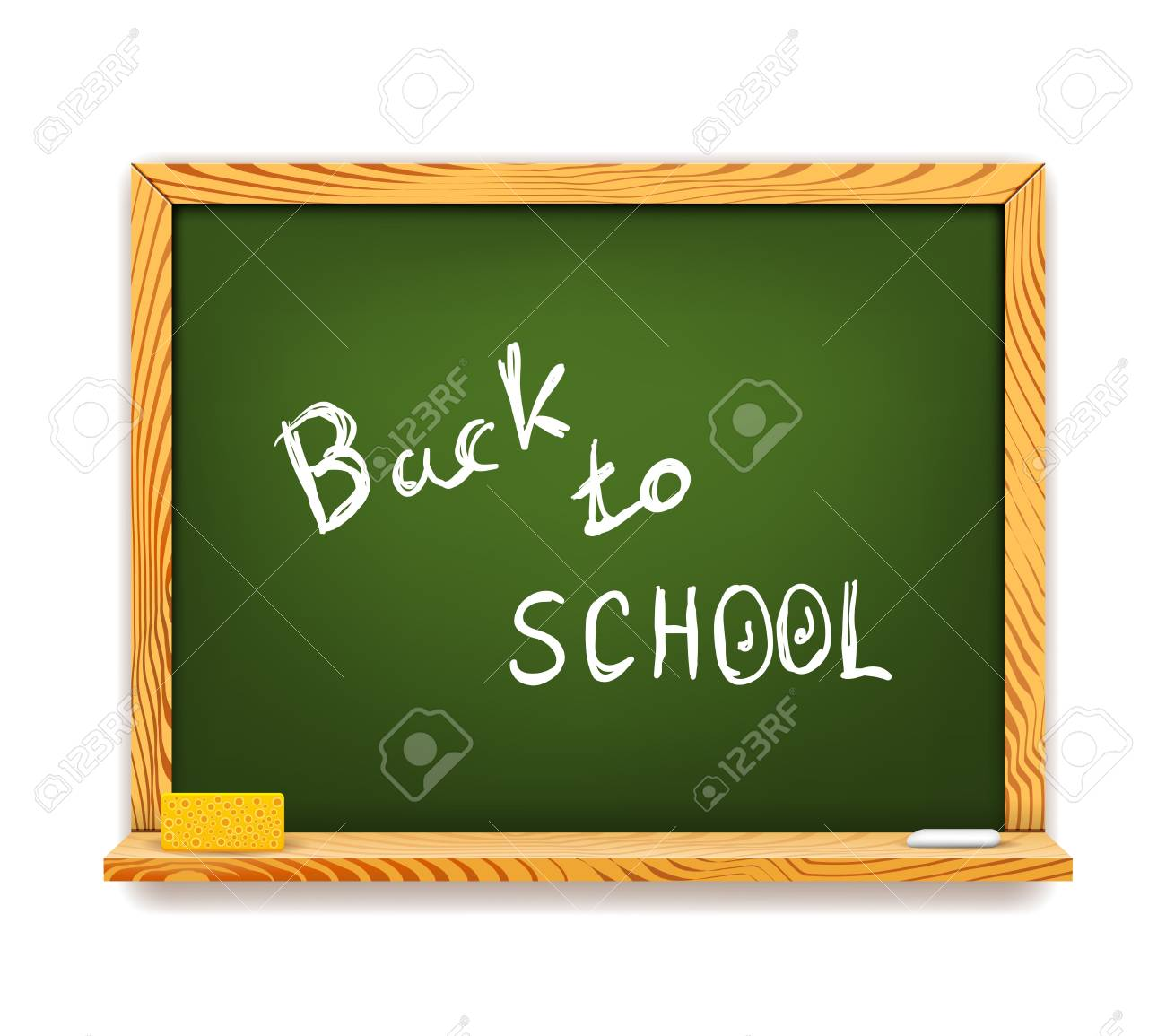 Green Chalkboard Back to School isolated on white Stock Vector - 20233745