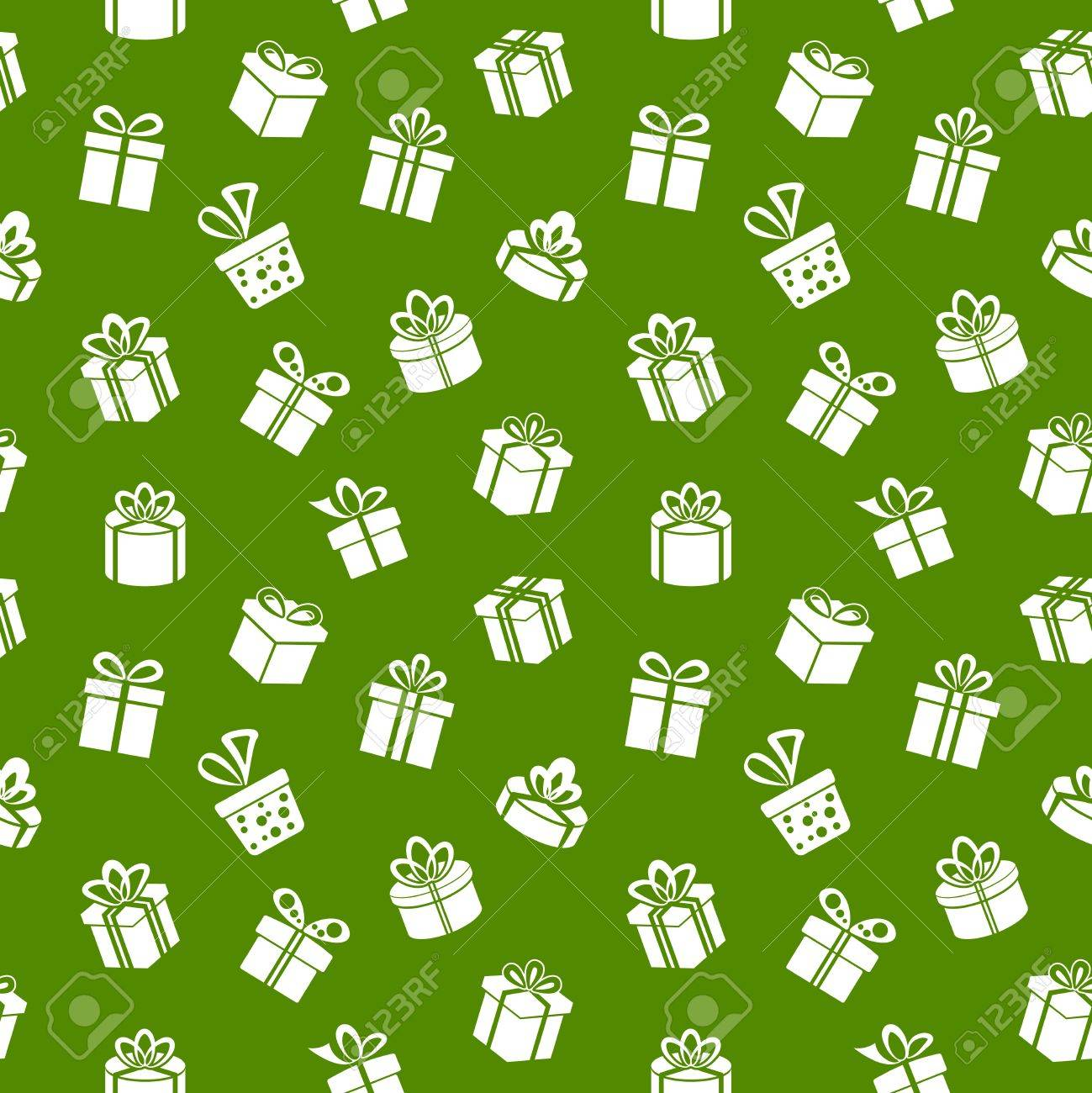 Vector Seamless Gift Pattern on green background Stock Vector - 20881150