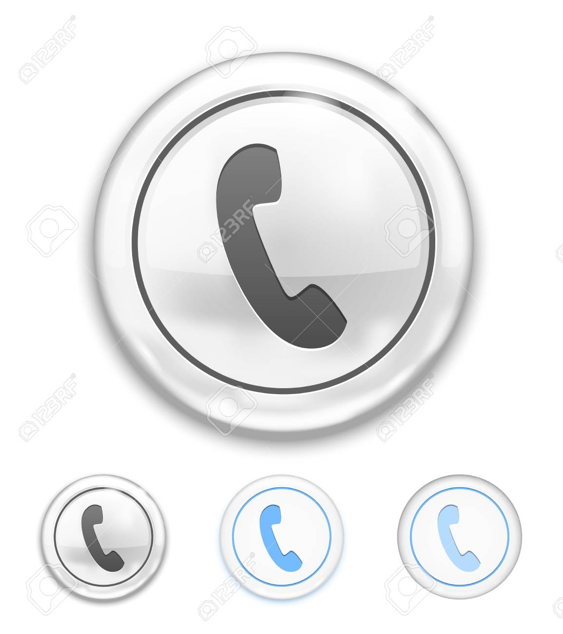 Vector Telephone Icon on Button on white background Stock Vector - 22095985