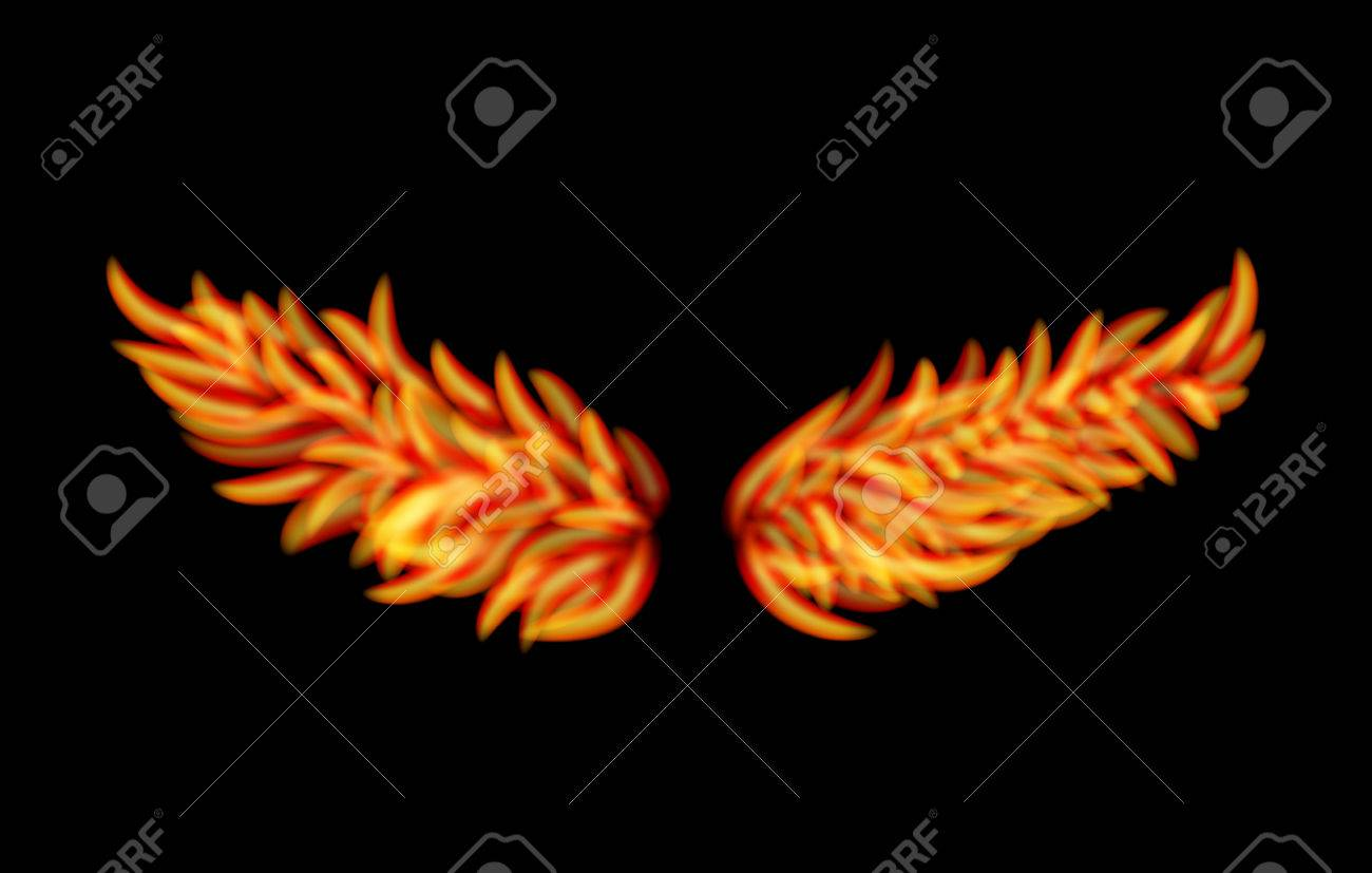 Vector Flame Wings isolated on black background Stock Vector - 22786997