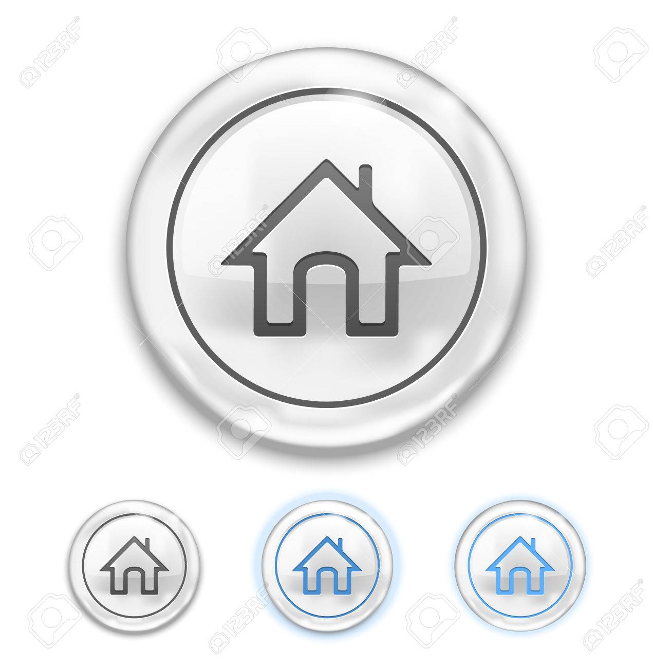 Home Icon on Button normal, hover, pressed Stock Vector - 22787249