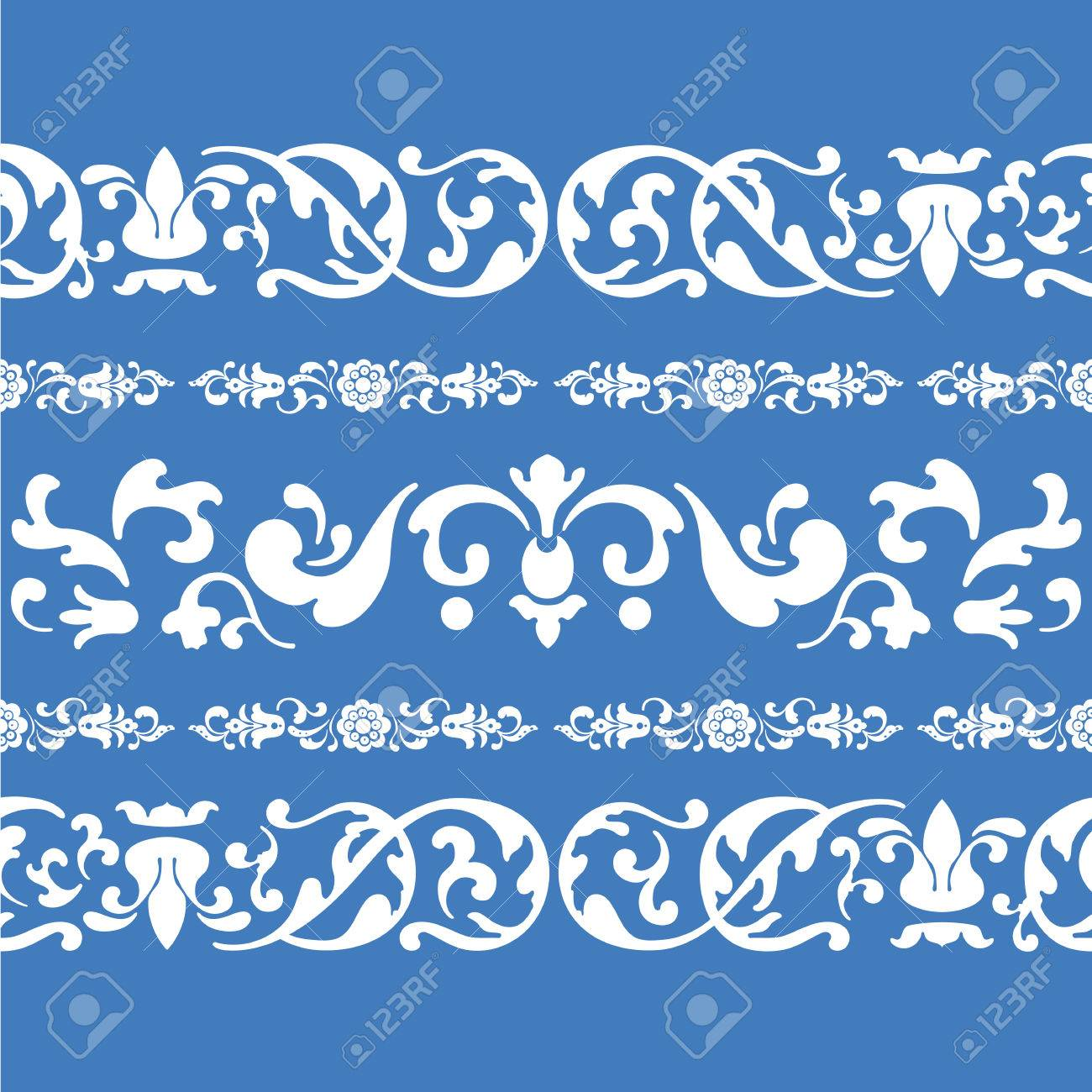 seamless blue folklore ornament pattern with russian decor Stock Vector - 24053236