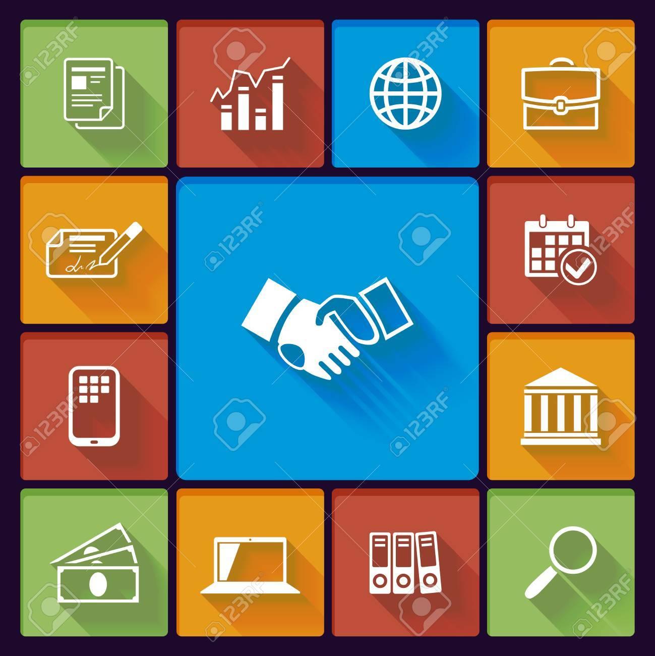 Business flat icons: handshake chart meeting global communications Stock Vector - 25503608