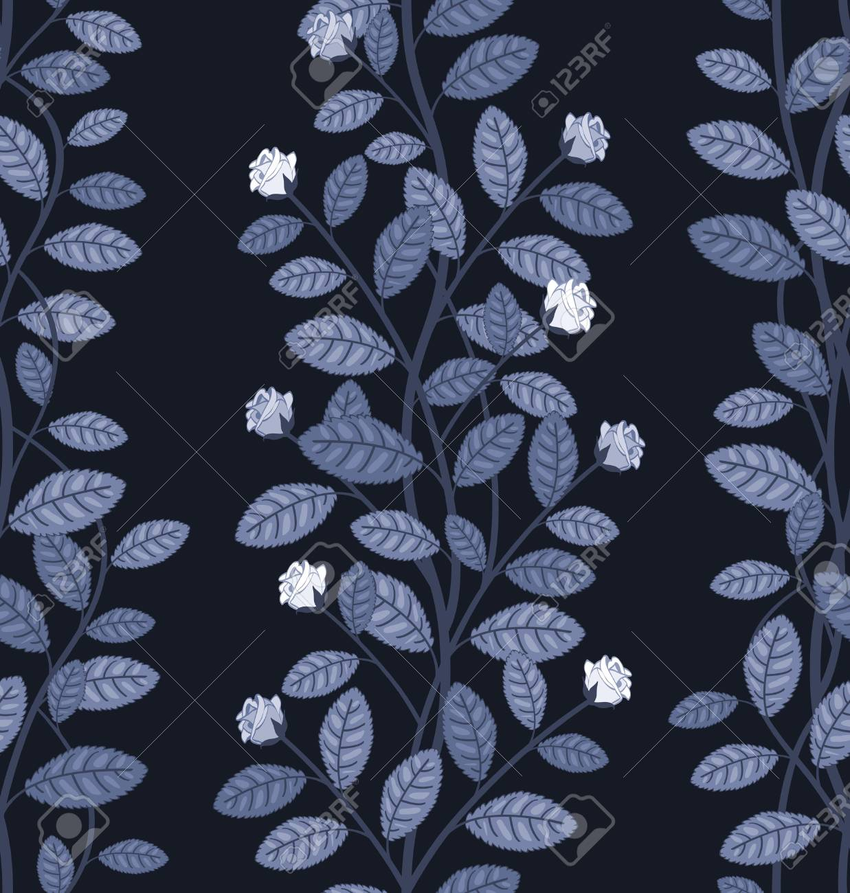 Seamless floral pattern on blue background vector illustration Stock Vector - 25996712