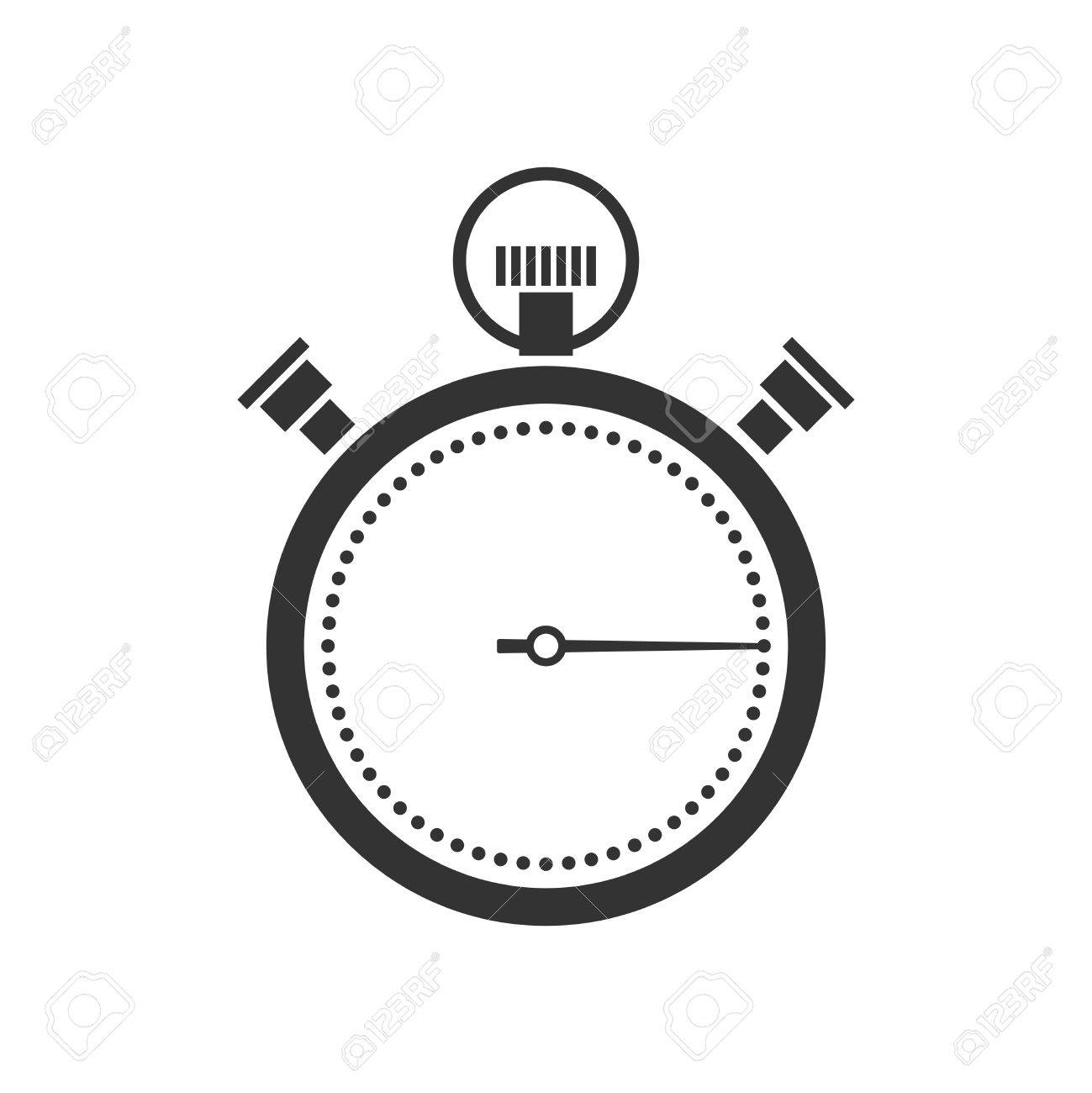 stopwatch or chronometer icon black silhouette on white background Stock Vector - 25999677
