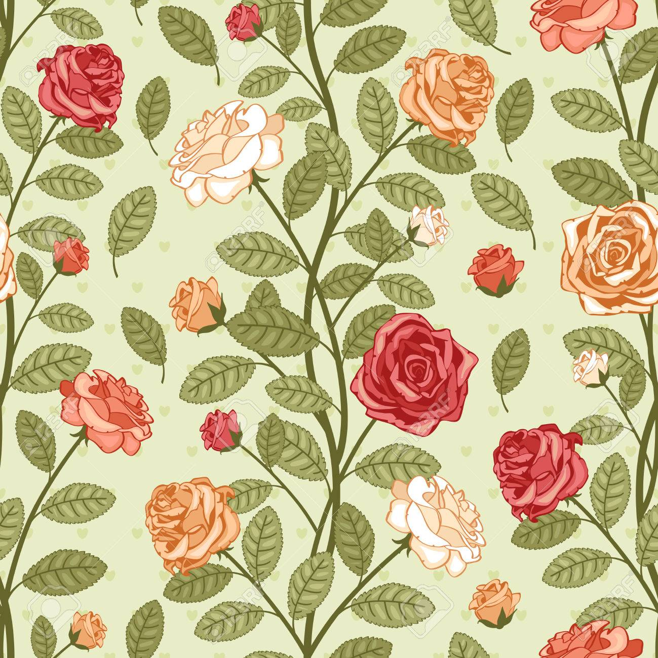 Seamless Vector Vintage Pattern Wallpaper With Roses Victorian Bouquet Of Colorful Flowers On Green Background Stock