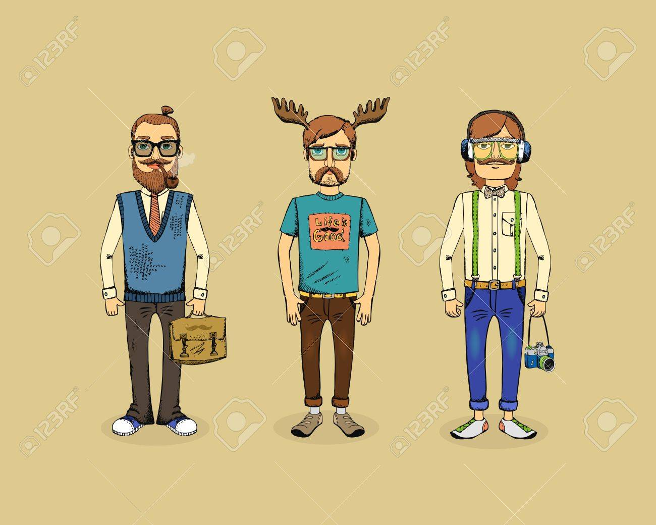 three hipster men with pipe, horns and camera Stock Vector - 25999693