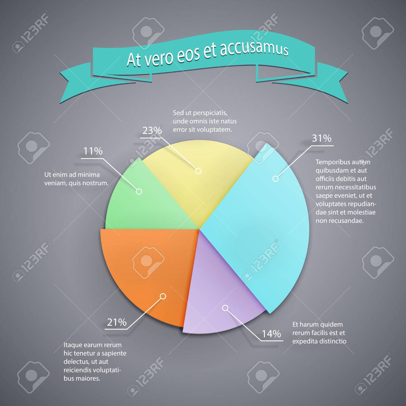 Vector Business Pie Chart Template For Infographics Reports