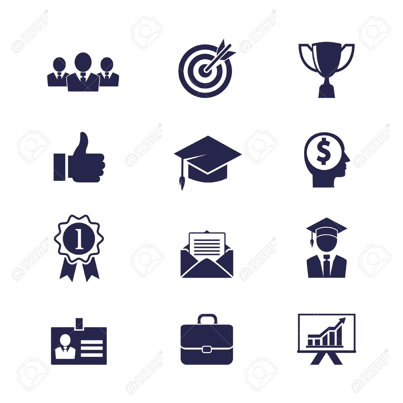 Vector Business Career Icons Set For Web And Apps Royalty Free ...