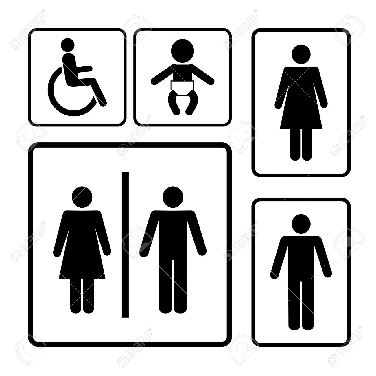 Bathroom Signs Black And White restroom vector signs black silhouettes on white background