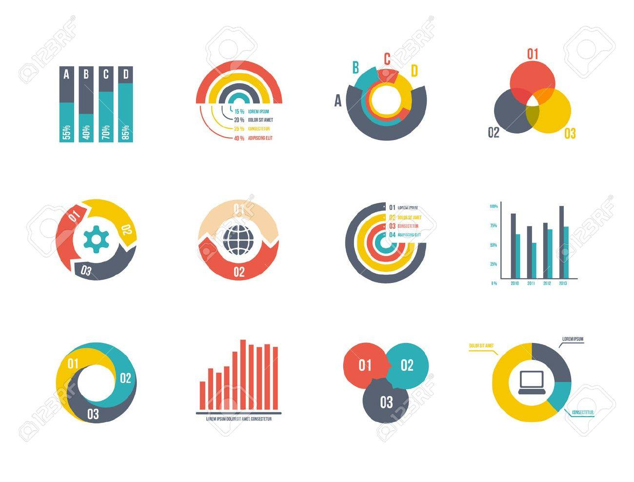 Large Set Pie And Bar Charts Vector Templates For Infographics ...