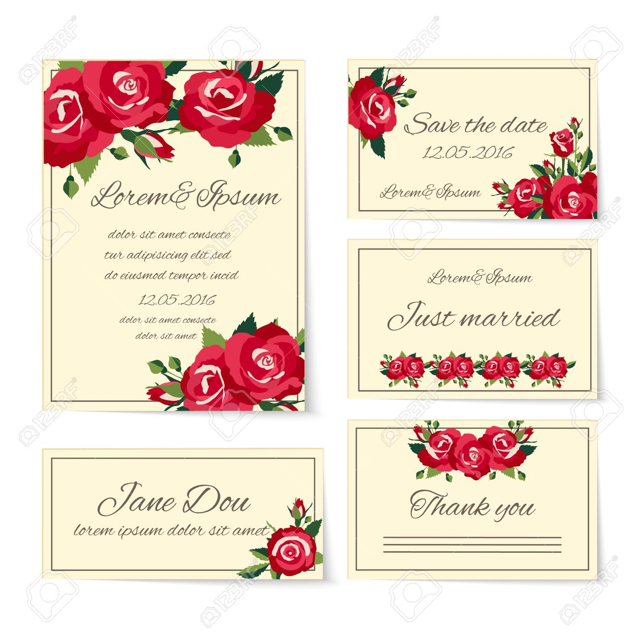 Complete set of wedding card templates covering invitation cards complete set of wedding card templates covering invitation cards thank you just married name place setting stopboris Images