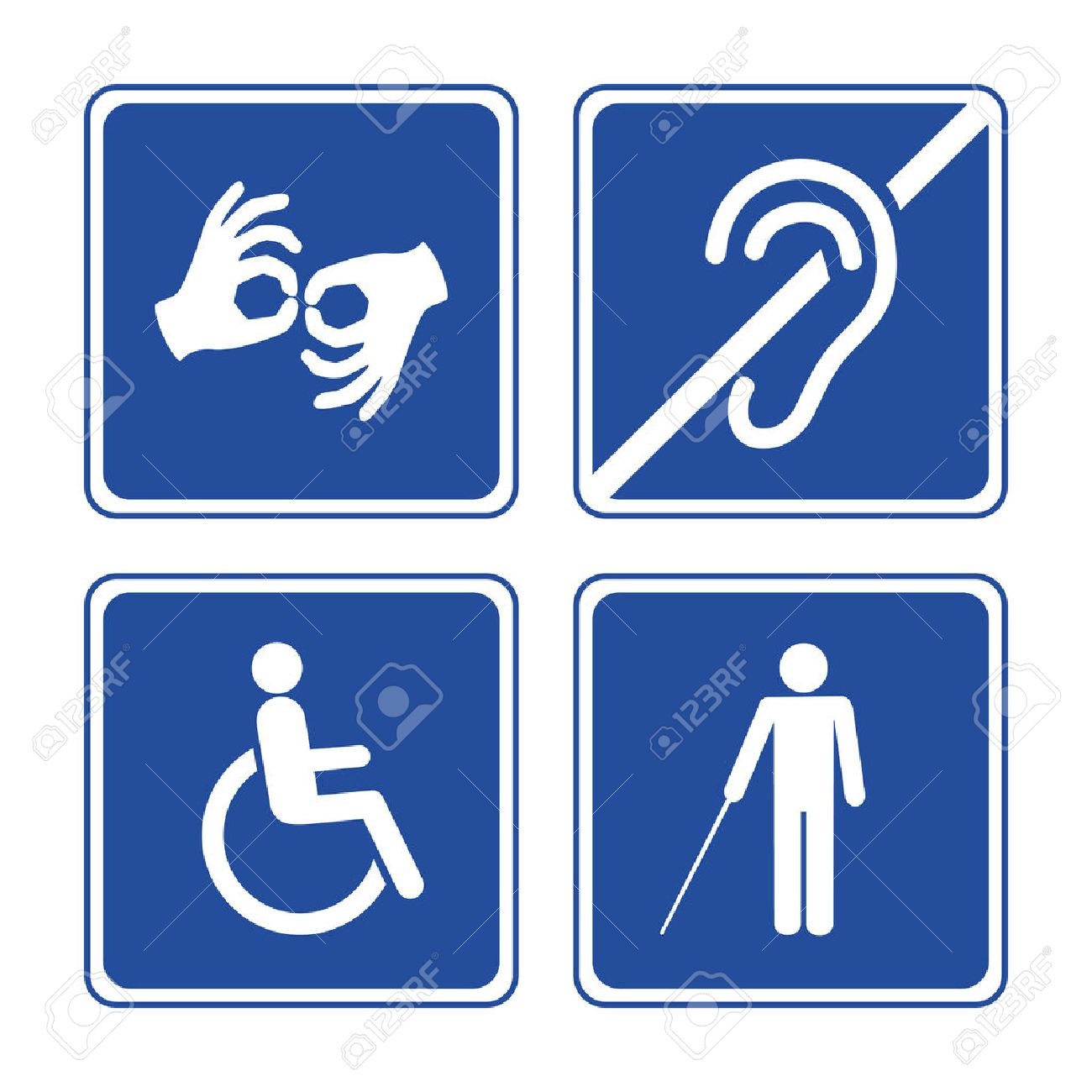 Disabled Signs Deaf Blind Mute And Wheelchair Icons Royalty Free