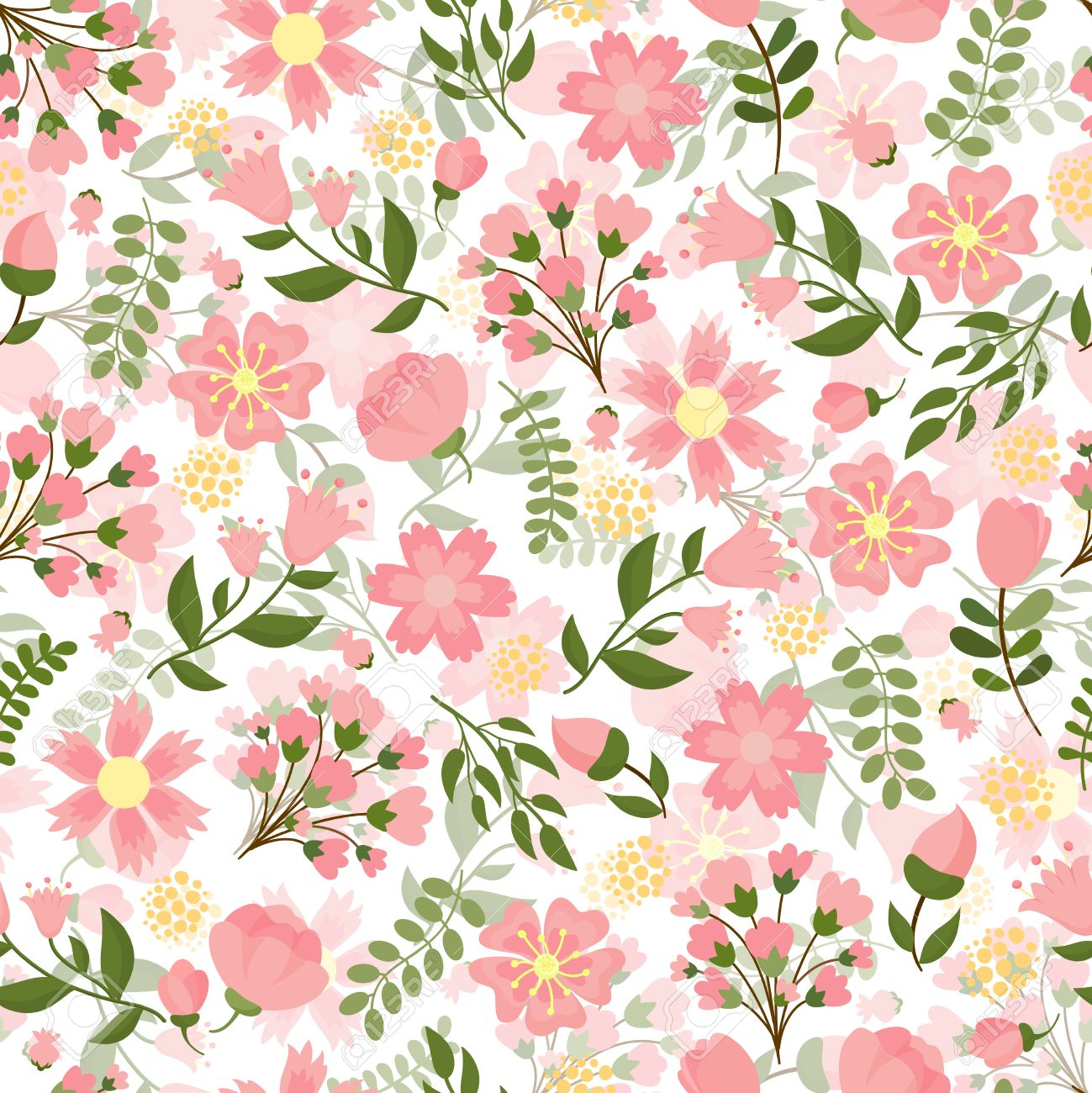 Seamless Spring Floral Background With A Dense Pattern Of Pretty