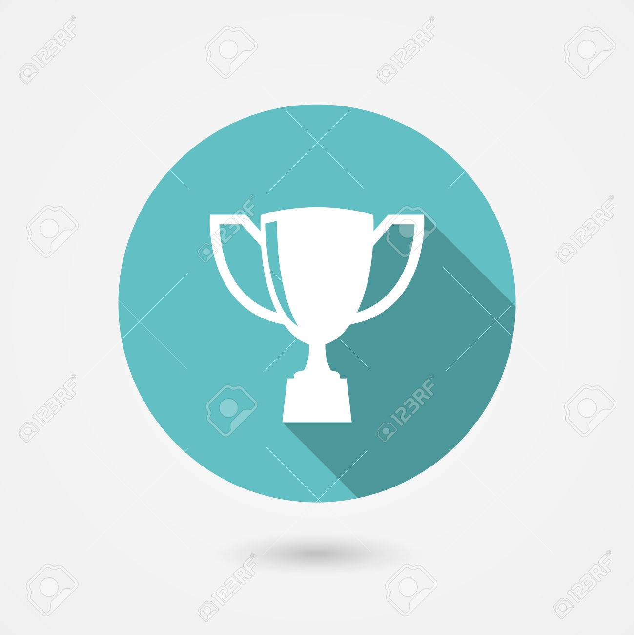 accomplishment stock photos images royalty accomplishment accomplishment trophy cup flat icon on a round blue frame