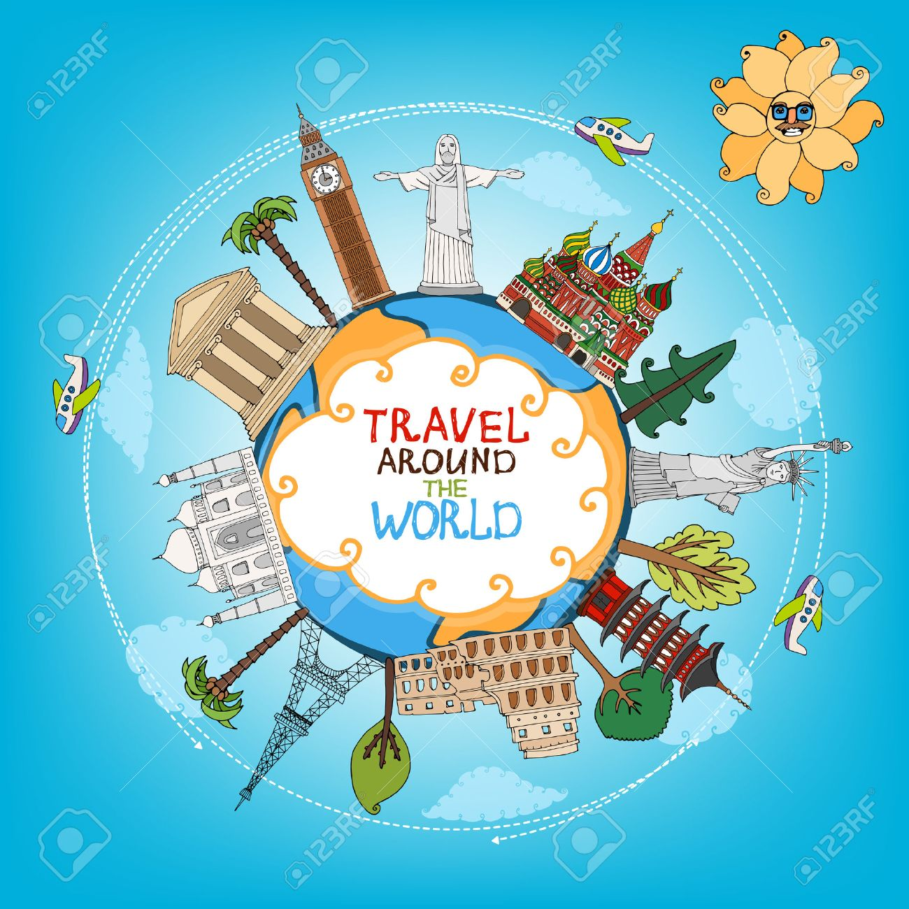 travel landmarks monuments around world with plane, sun and clouds - 27490355