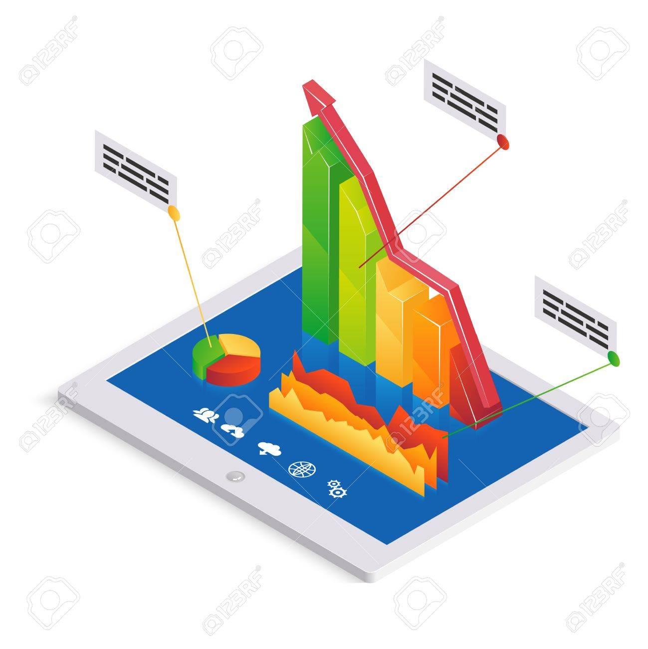 Análisis De PC O Infografías Plantilla Con Un Gráfico De Barras 3d ...