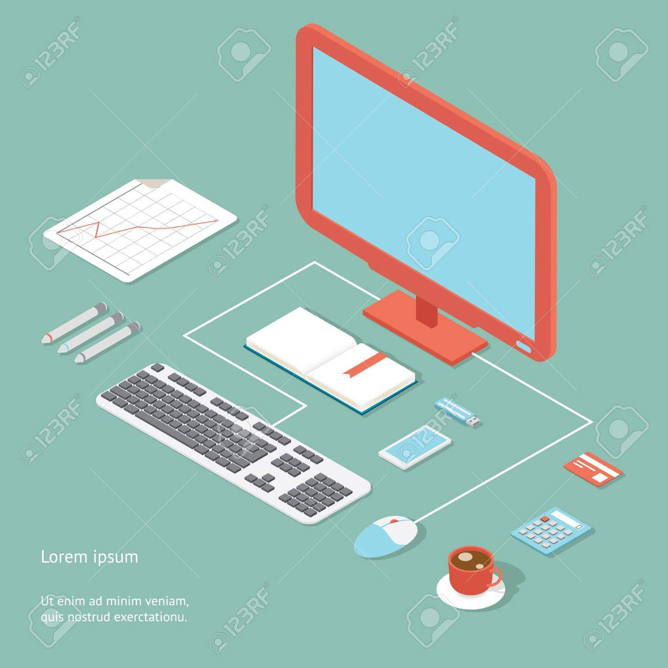 Desktop Computer Wiring Diagram Vector Workplace In Flat Style Showing An Office Desk A Similiar Hardware Keywords