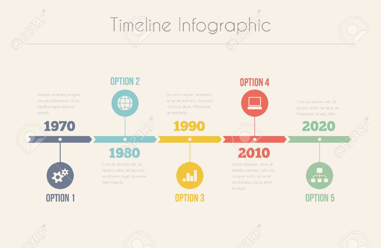 retro timeline infographic vector template for design royalty free