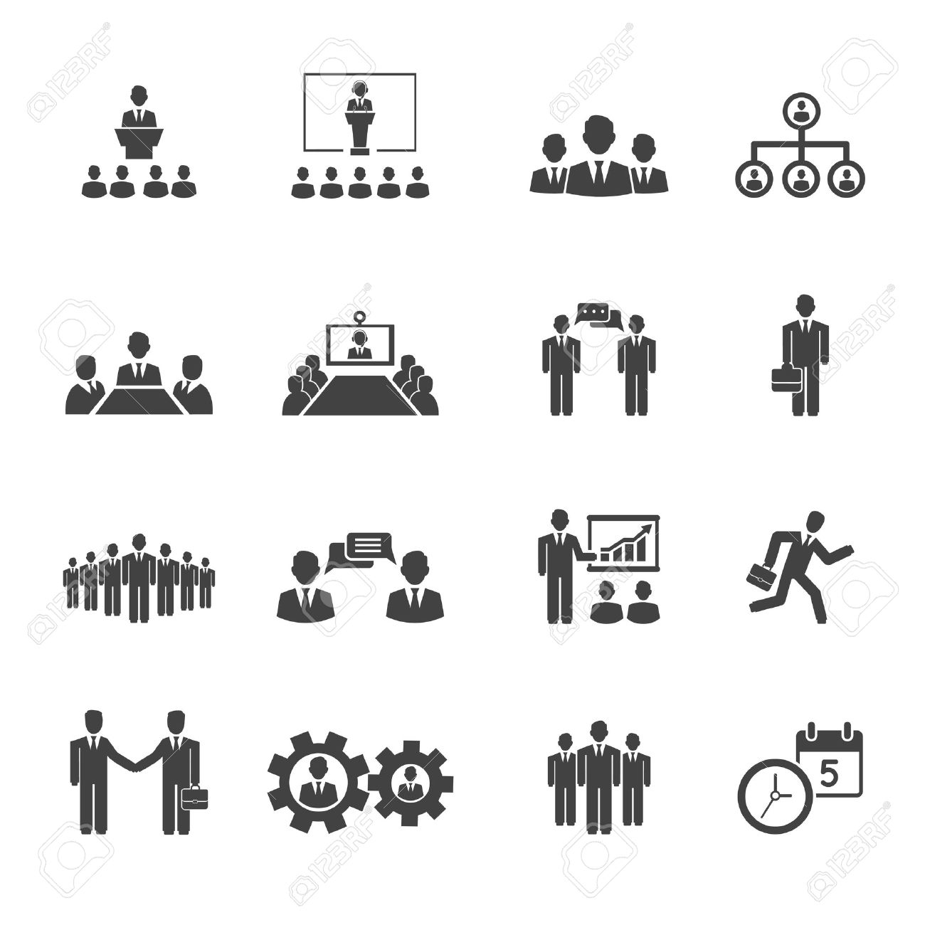 Business people meetings and conferences vector icons showing training presentations conference table leadership teamwork groups discussion brainstorming handshake deadline and schedule - 27842987
