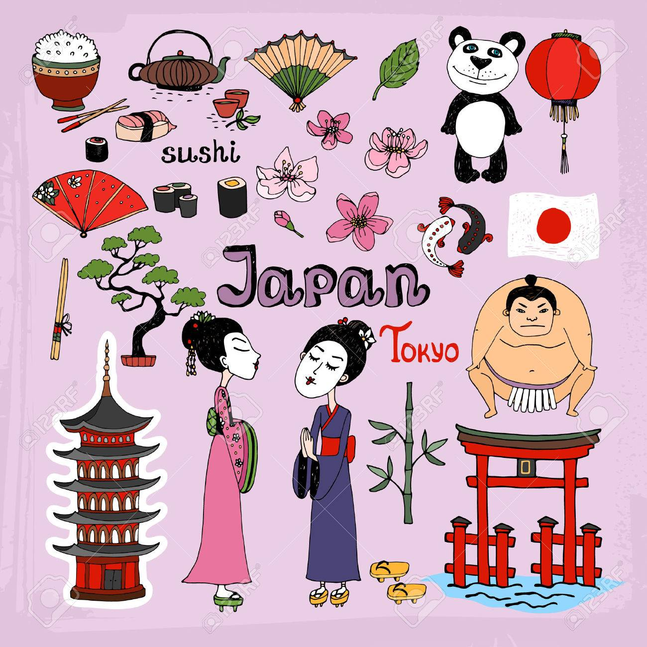 Japan landmarks and cultural icons vector set with Geisha girls  Torii Gates  sumo wrestler  fans  panda  paper lantern  bonsai  cherry blossom  koi  bamboo  tea and rice Stock Vector - 28035762