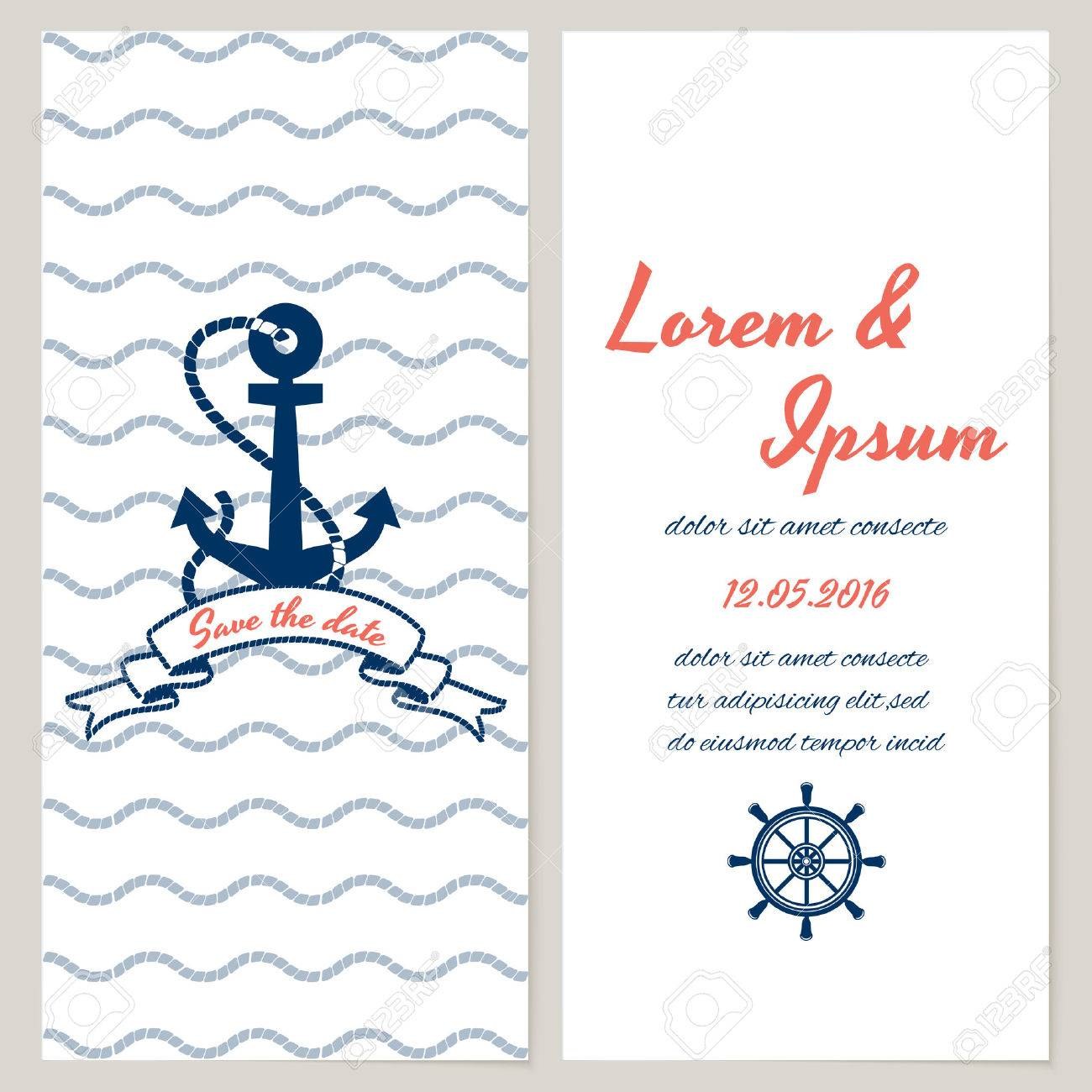 Nautical Style Wedding Invitation And Save The Date Templates With  Copyspace For Your Text Rope Borders