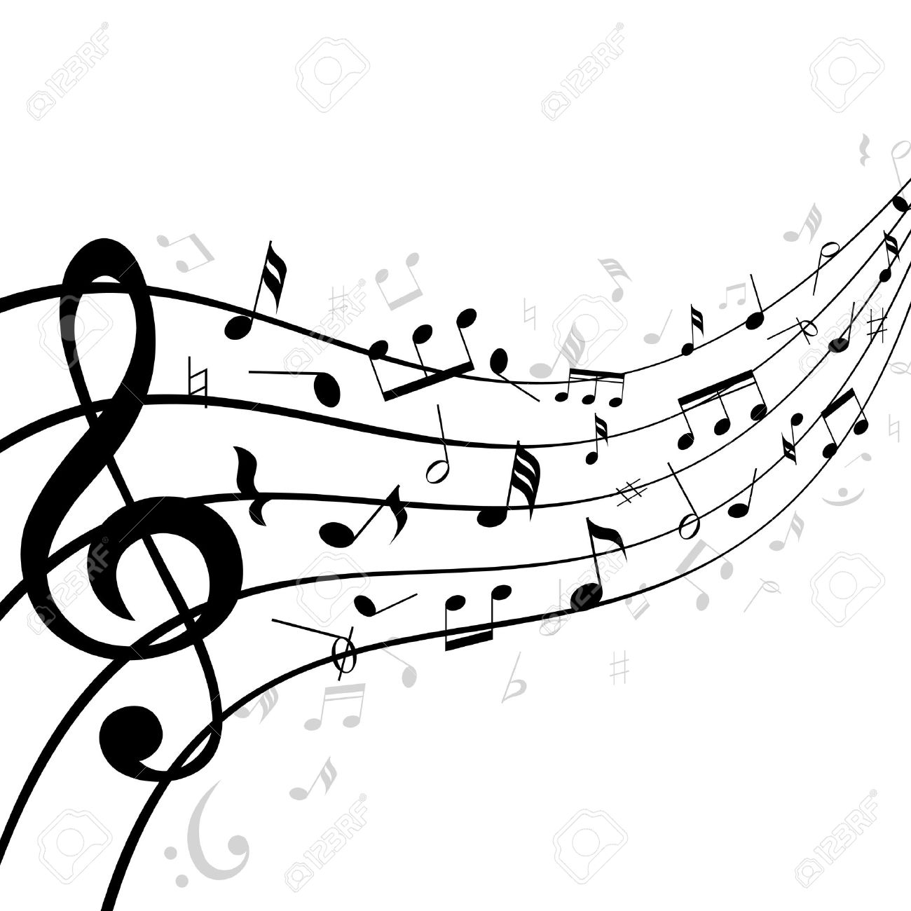 music notes on a stave or staff consisting of five lines curving rh 123rf com Music Clef Clip Art Music Clef Clip Art