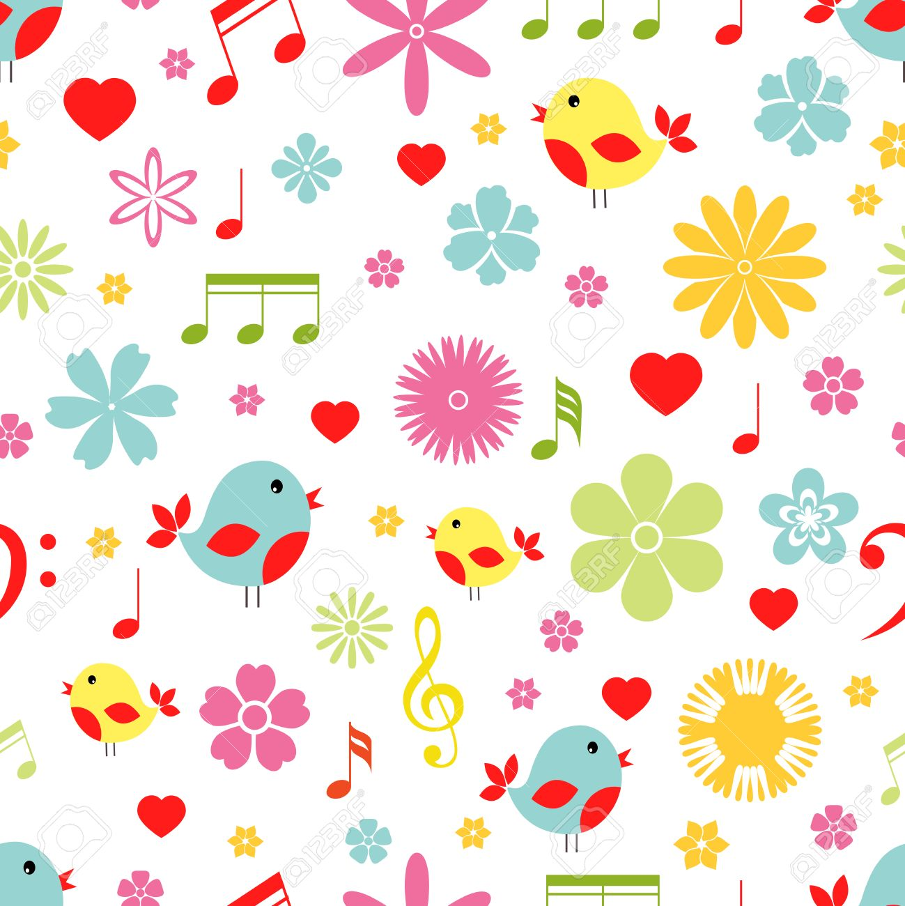 Colorful Spring Flowers Birds And Music Notes Seamless Background Pattern In Square Format Suitable For Tiles