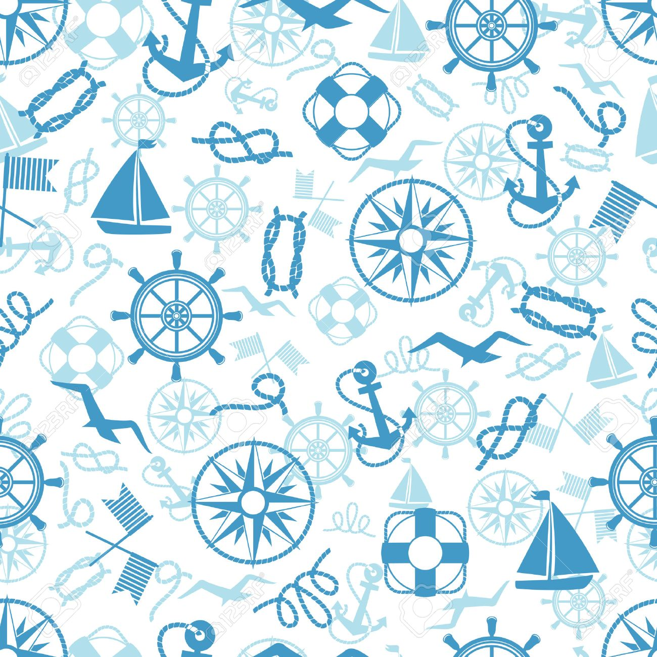 Nautical or marine themed seamless pattern with anchors life buoys ropes knots compass yacht semaphore flags