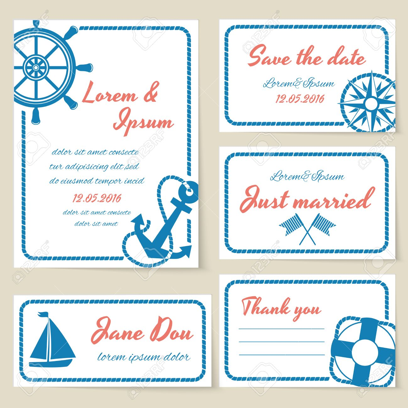 Nautical Themed Wedding Invitation And Greeting Cards With Rope ...