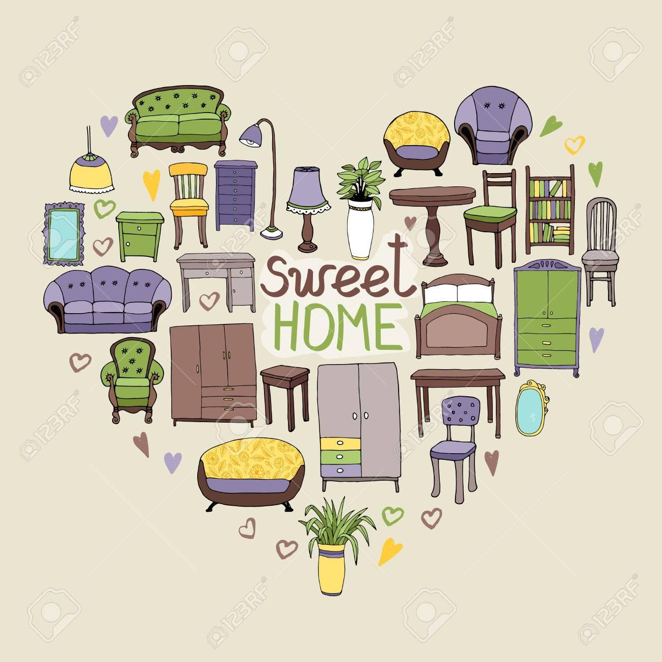 Sweet Home Notion Avec Divers Accessoires Pour La Maison Et Les  # Les Meubles Pour La Maison