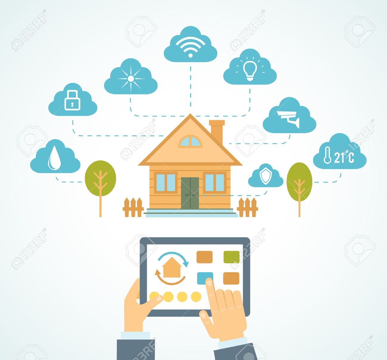 Illustration Concept Of Smart House Technology System With ...