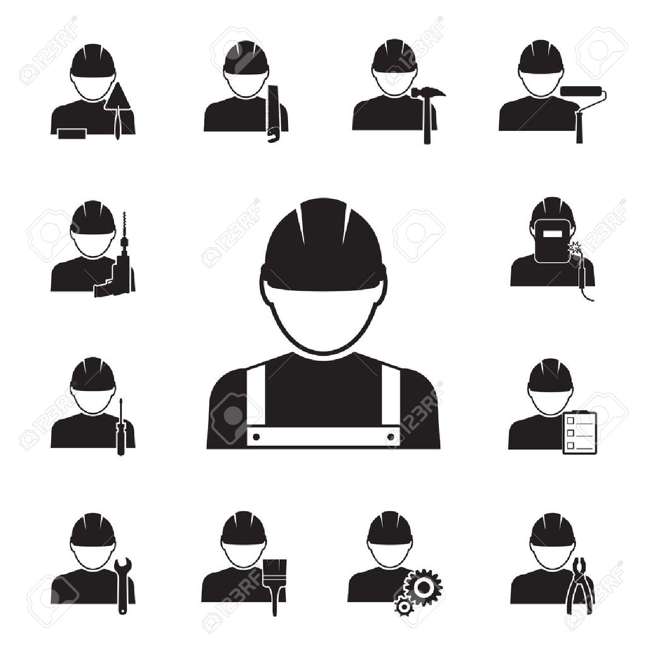 Black silhouette vector icons of workmen coupled with different tools including drill spanner paint brush roller pliers saw welder hammer foreman inspector with notes screwdriver and gears - 28779488