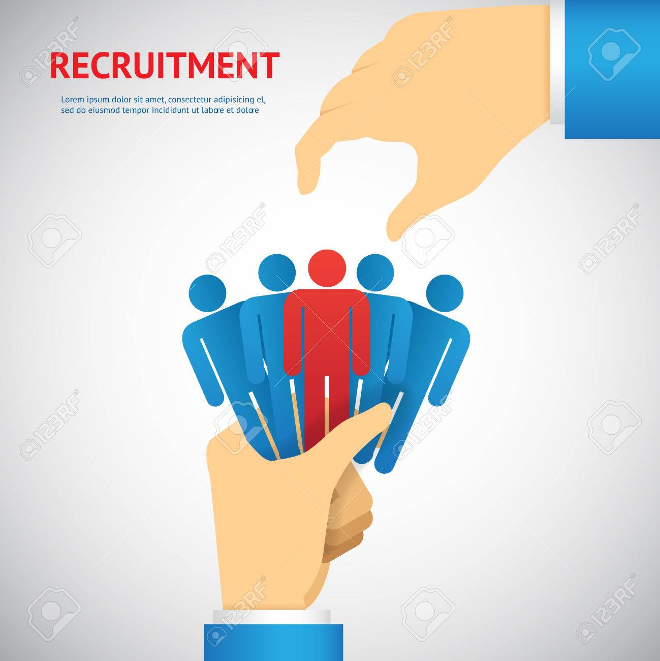 human resource and recruitment concept: hand select one persons of stack - 28779511