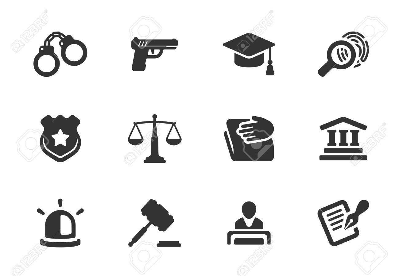 Set Aus Schwarzen Und Weißen Silhouette Justiz-und Polizei Symbole ...