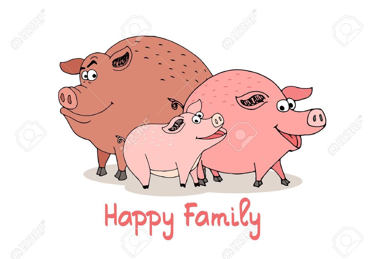 Famiglia di porcelli felici