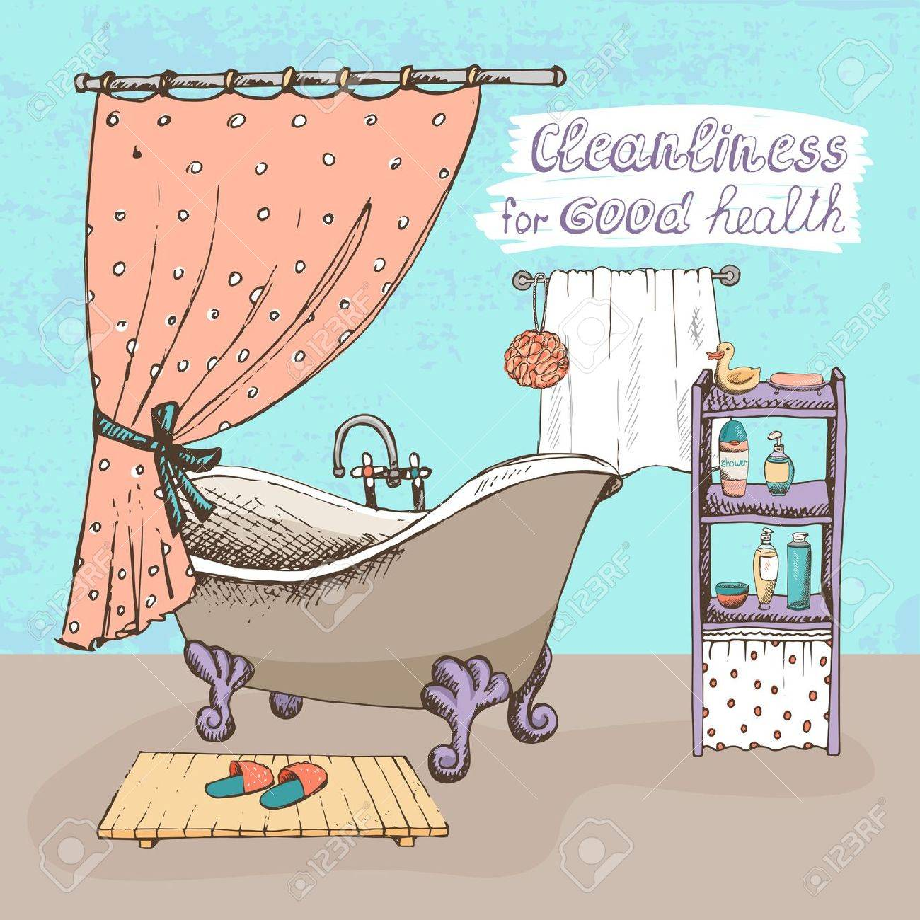 Cleanliness For Good Health Concept Showing A Bathroom Interior ...