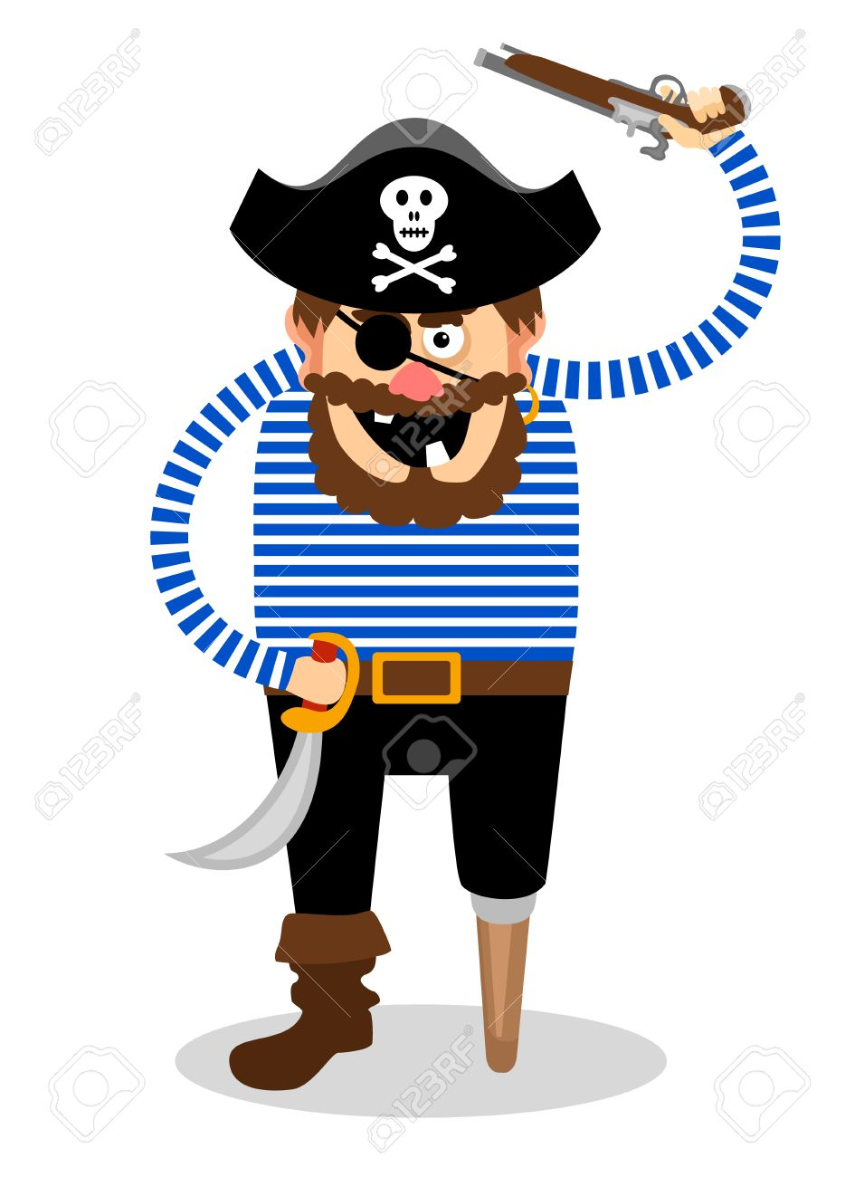 Stereotypical Vector Pirate On A White Background With A Wooden