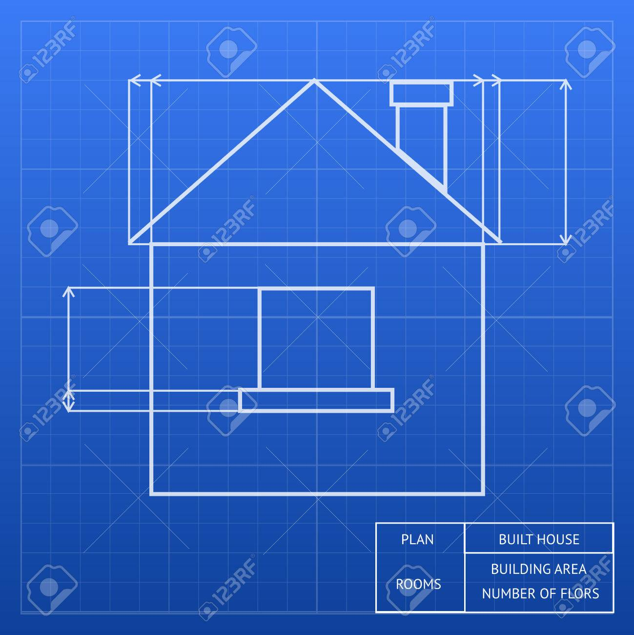 Architectural blueprint of a house design showing an exterior architectural blueprint of a house design showing an exterior elevation with window and roof heights and malvernweather Images