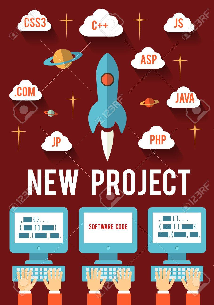Concept of new business project startup development for Web and Mobile Stock Vector - 29239618