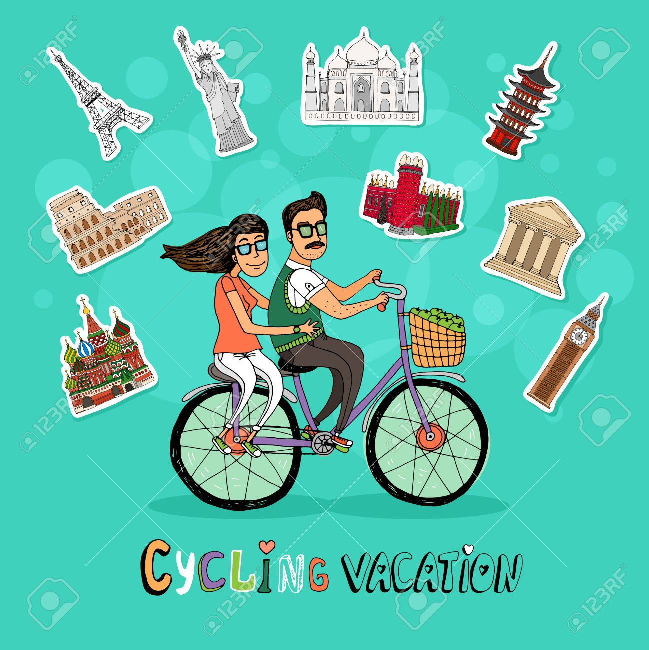Couple on a Cycling Vacation riding a tandem bicycle together past a set of worldwide icons of famous tourist destinations with the text below  hand-drawn vector illustration Stock Vector - 29412221