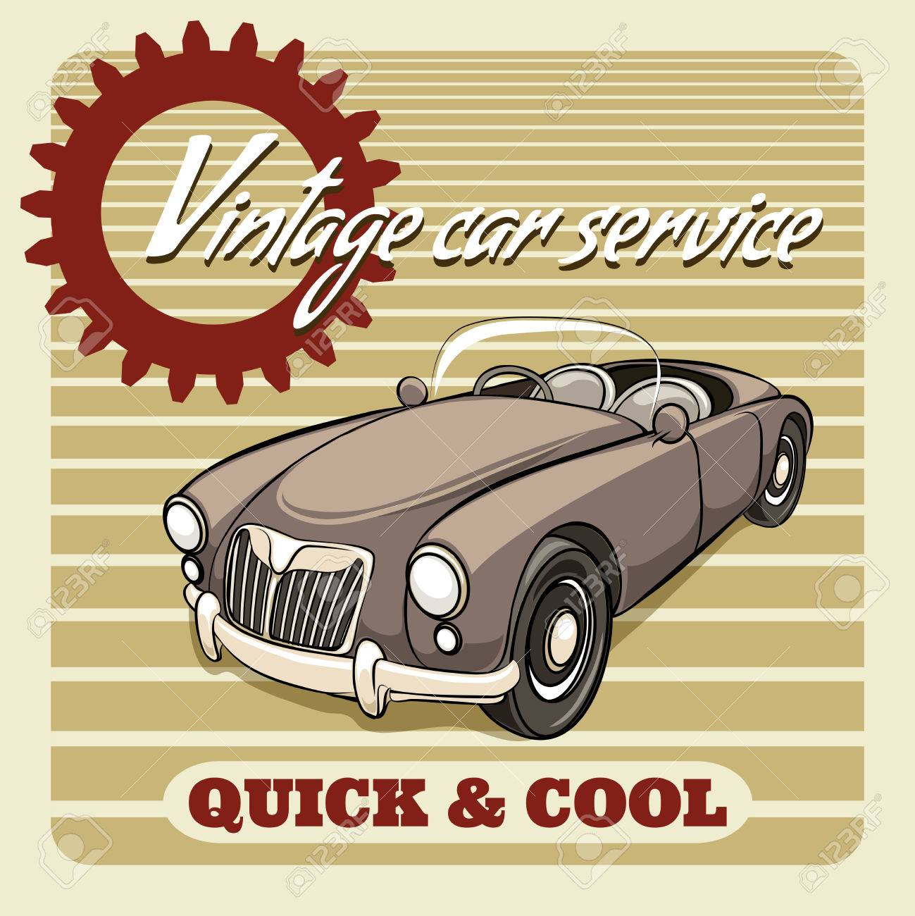 Quick And Cool - Vintage Car Service Poster Vector Design With ...