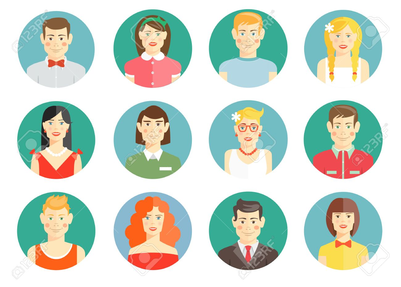 set of diverse people avatar icons royalty free cliparts vectors