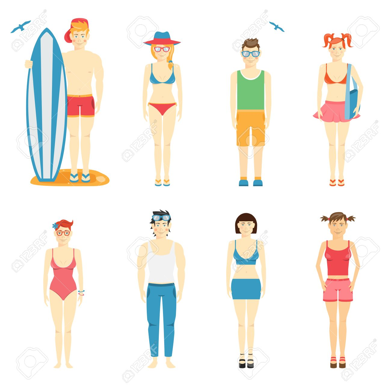 Icons Of Kids In Summer Clothing And Swimsuits Stock Vector