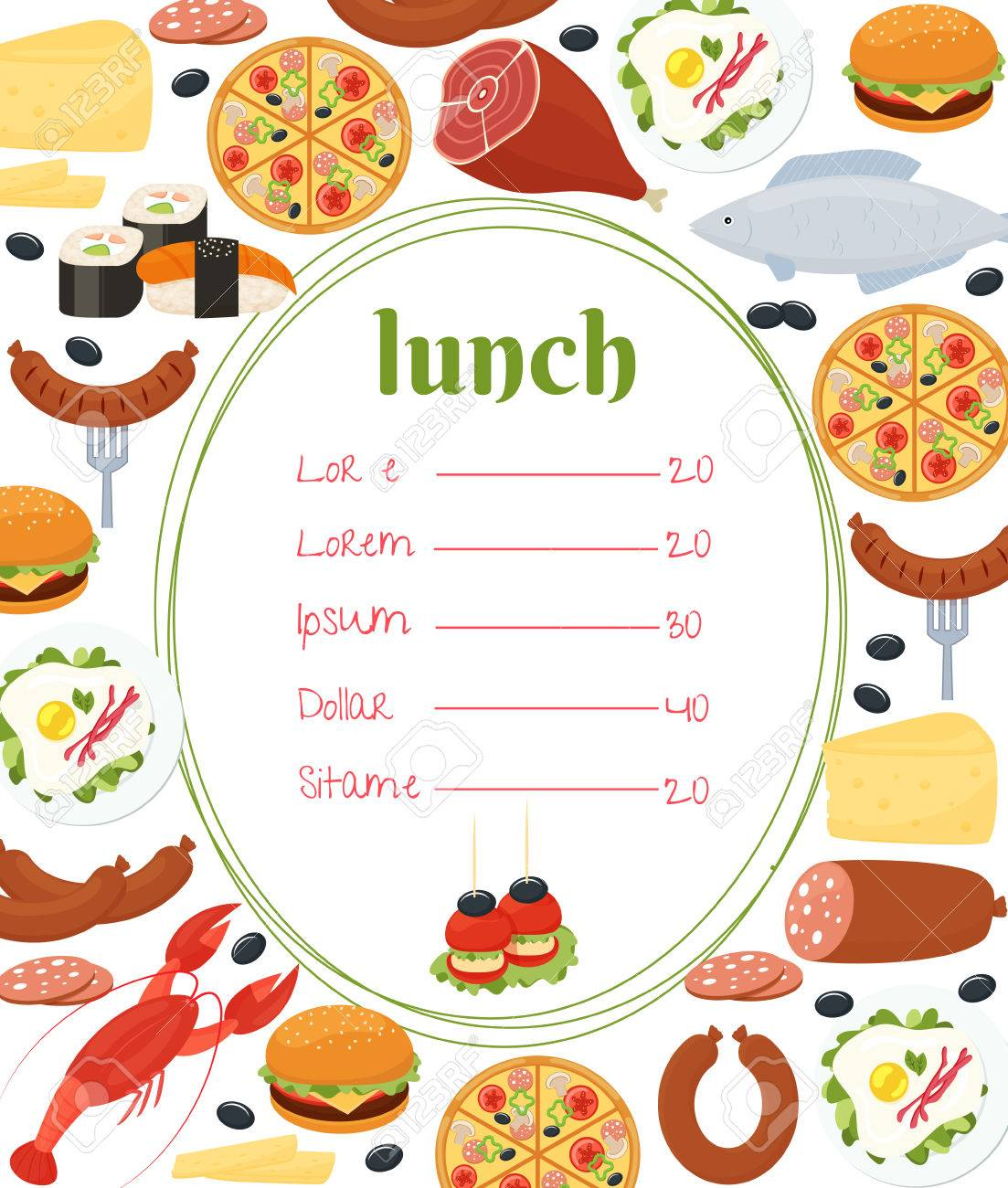 Lunch Menu Template Royalty Free Cliparts Vectors And Stock