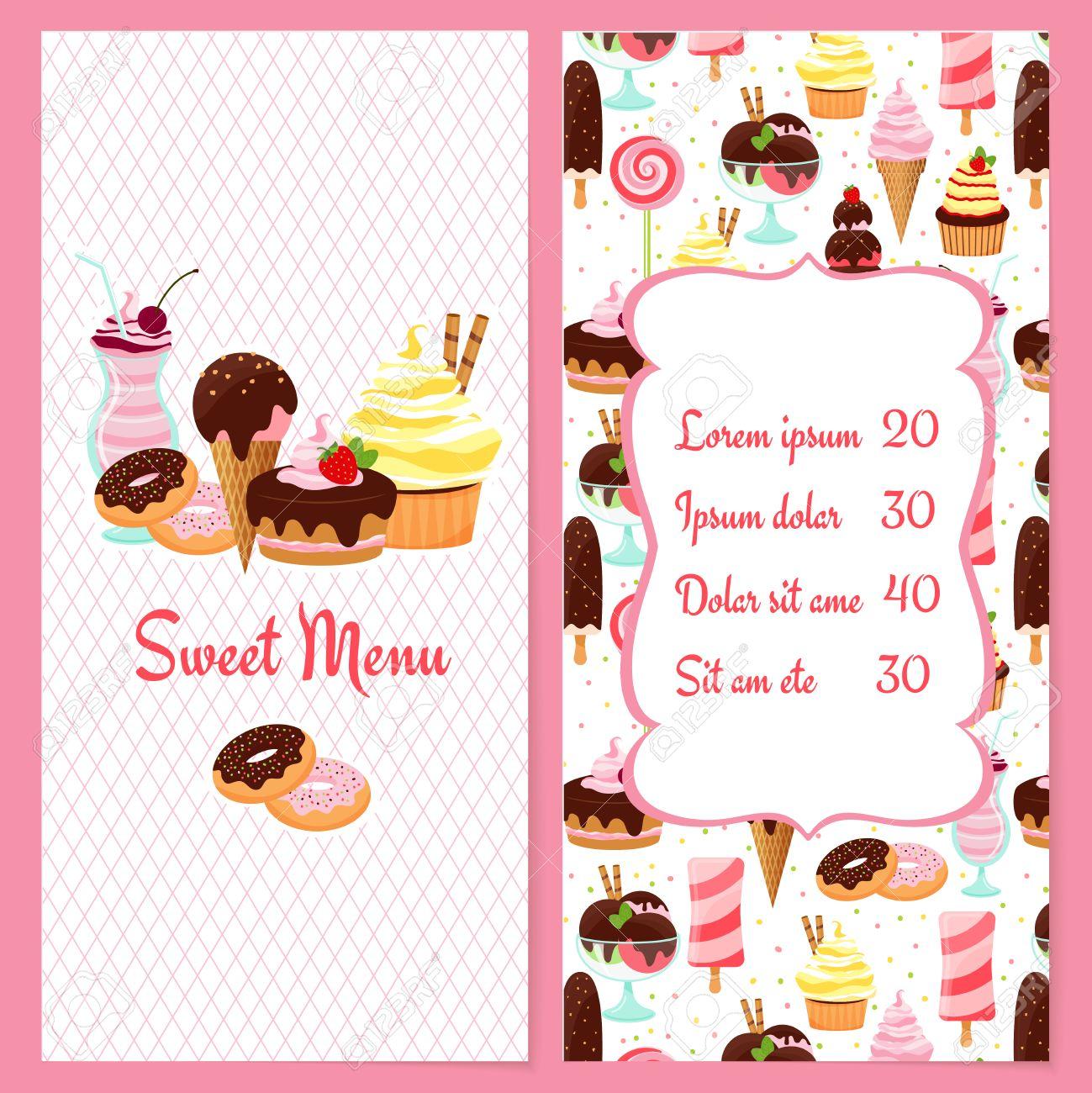 Bunte Vektor Dessertkarte Vorlage Für Restaurants Mit Einem ... | {Süßigkeiten & gebäck 27}