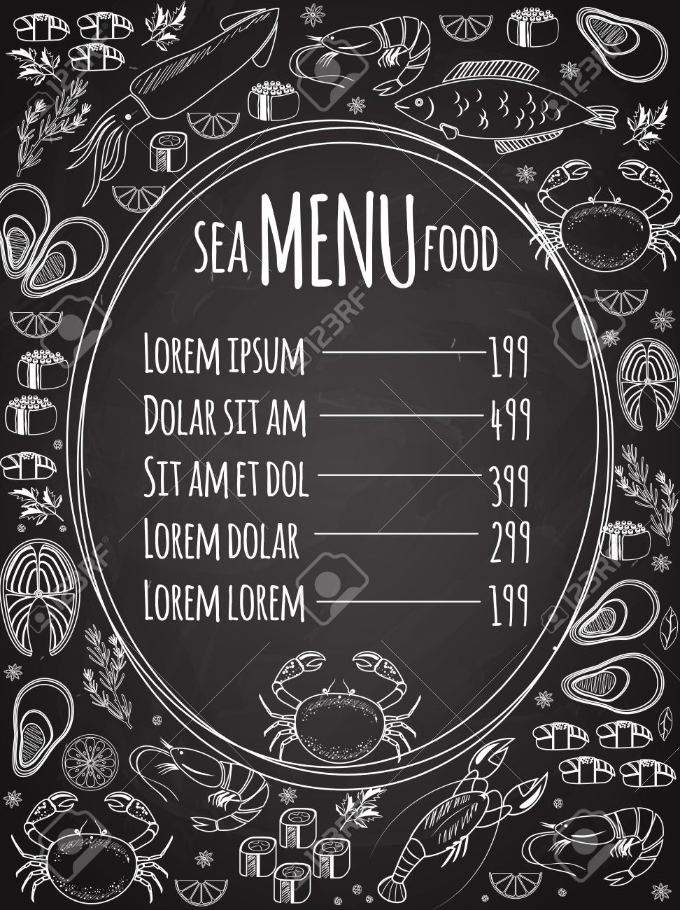 seafood chalkboard menu template royalty free cliparts vectors and