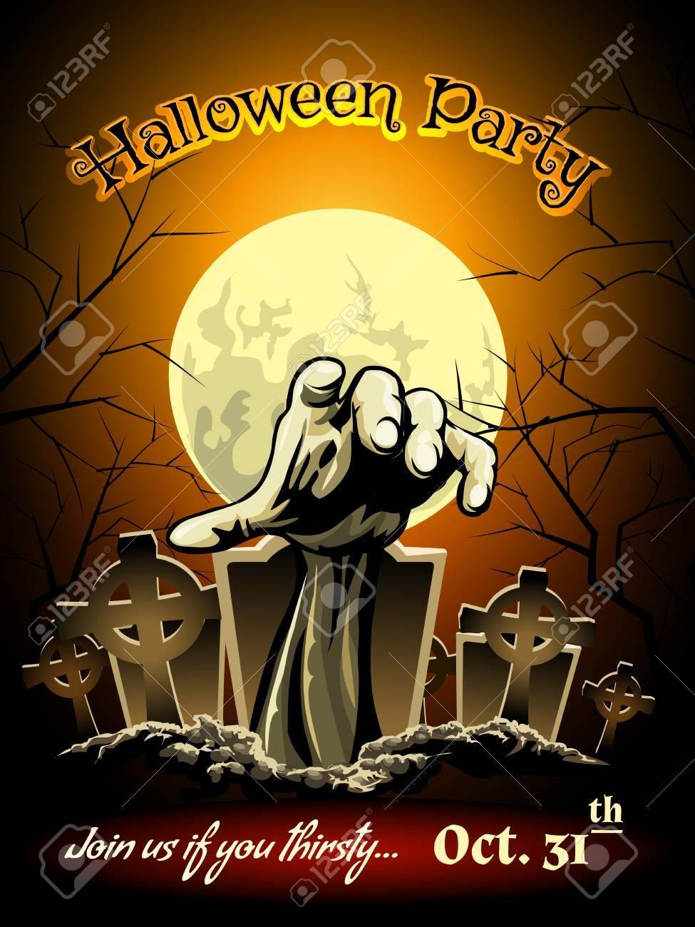 Halloween Party Einladung Mit Zombie Graphic Standard Bild   32267722