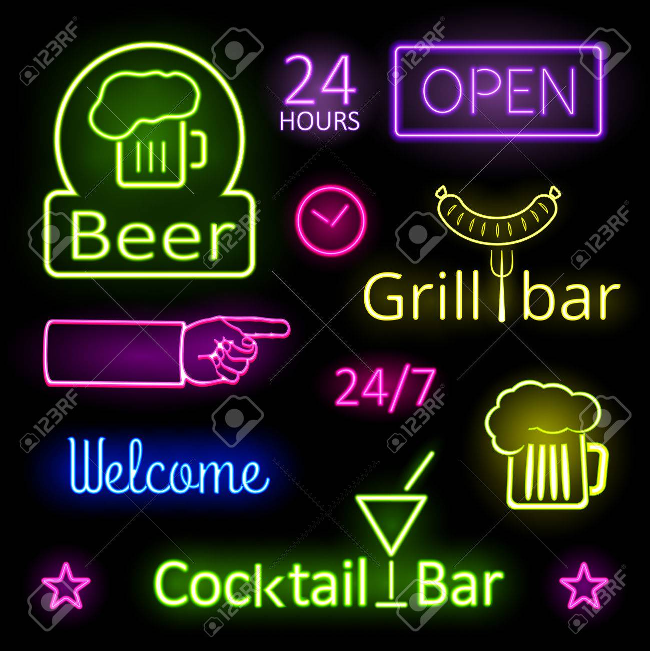 Glowing neon lights bar signs on black background glowing neon lights bar signs on black background 33995205 mozeypictures Gallery