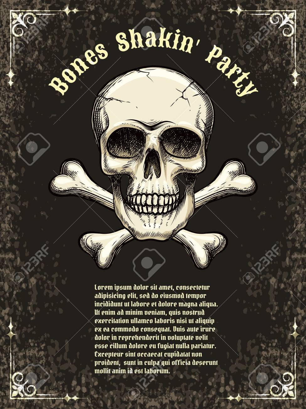 Vector Skull Frame Poster Template Royalty Free Cliparts, Vectors ...